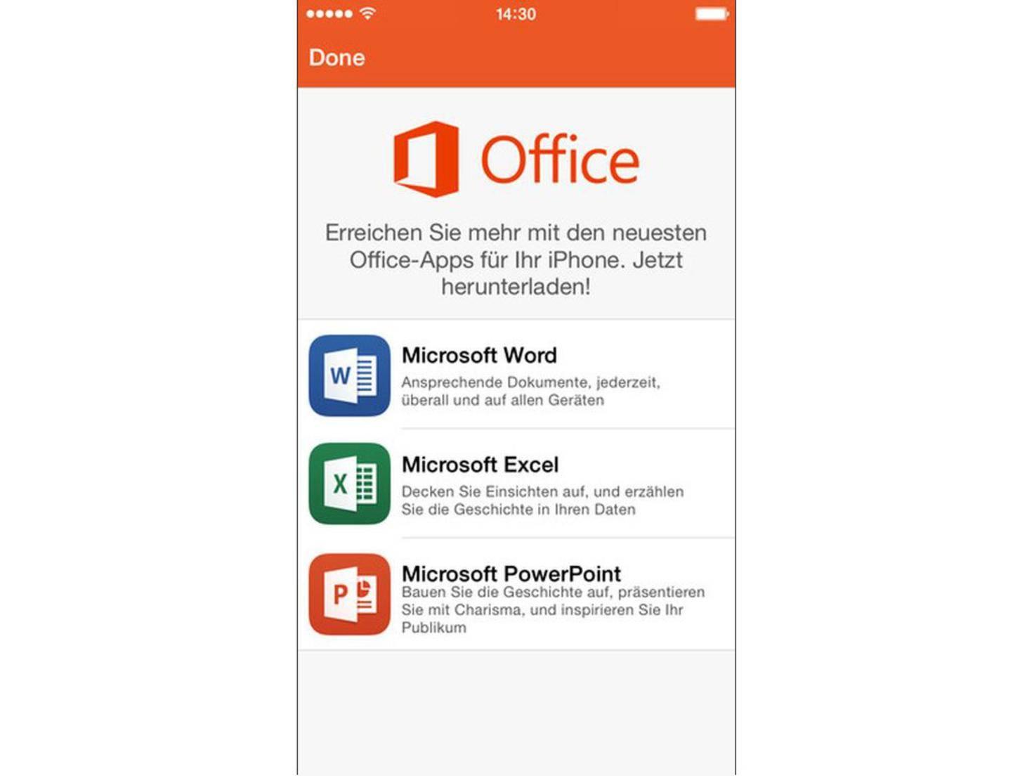 Office Mobile bietet grundlegende Funktionen für die Büroarbeit.