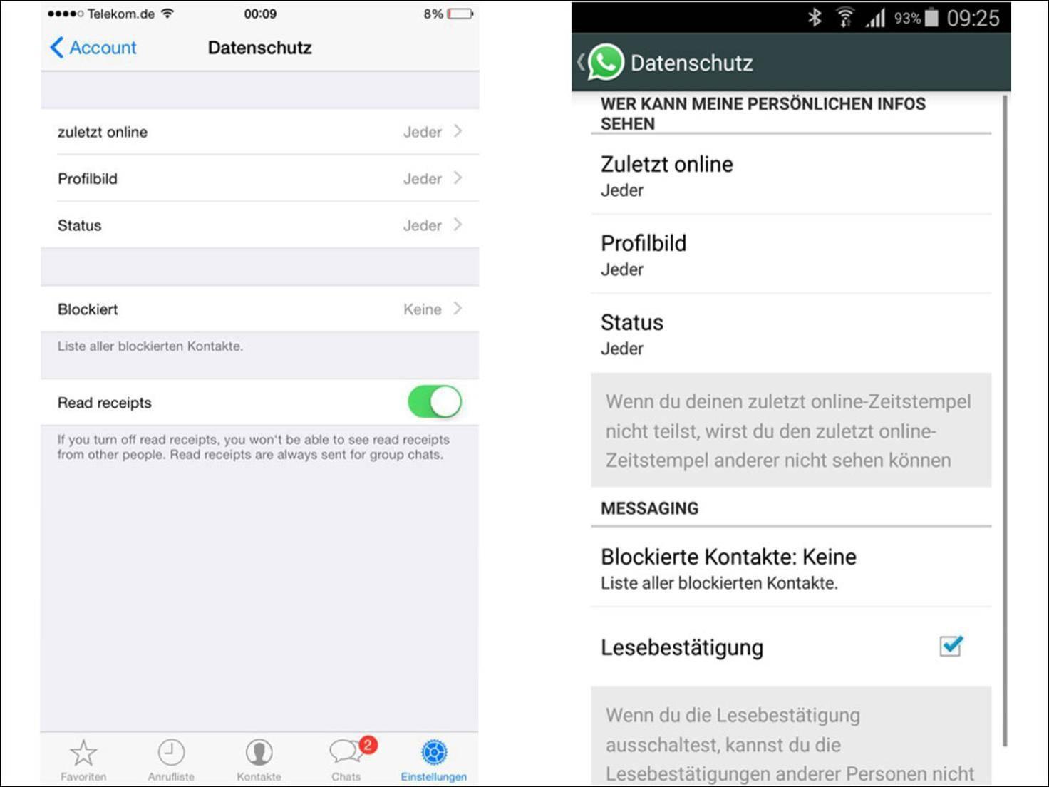 Vergleich WhatsApp Lesebestätigung iOS Android