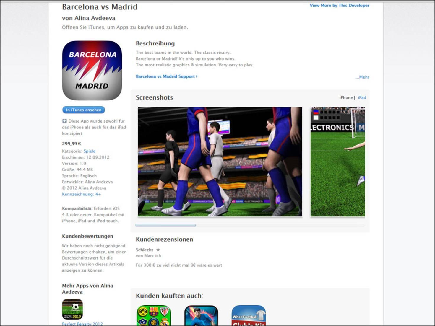 Was ist FIFA – haben sich die Macher der App vermutlich gefragt und eine Fußball-Simulation alleine für die Partie Barcelona-Madrid programmiert.