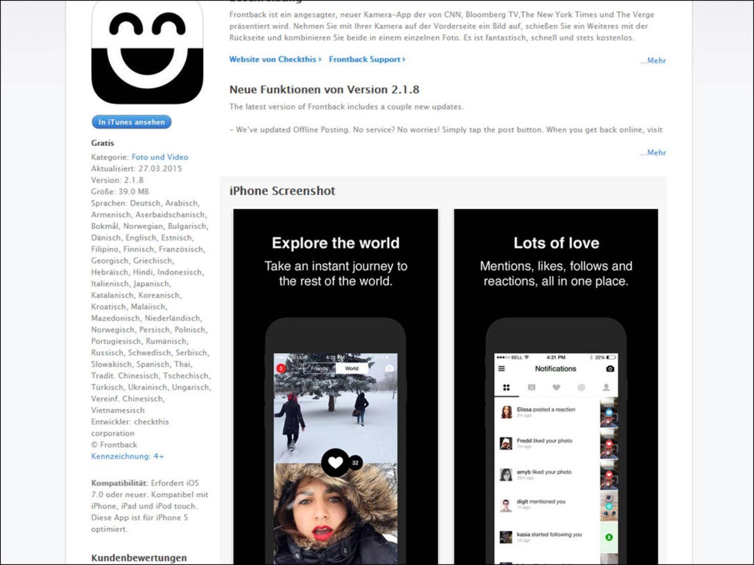 Frontback: Mit dieser App lassen sich Fotos von Vorder- und Rückseiten-Kamera automatisch kombinieren.
