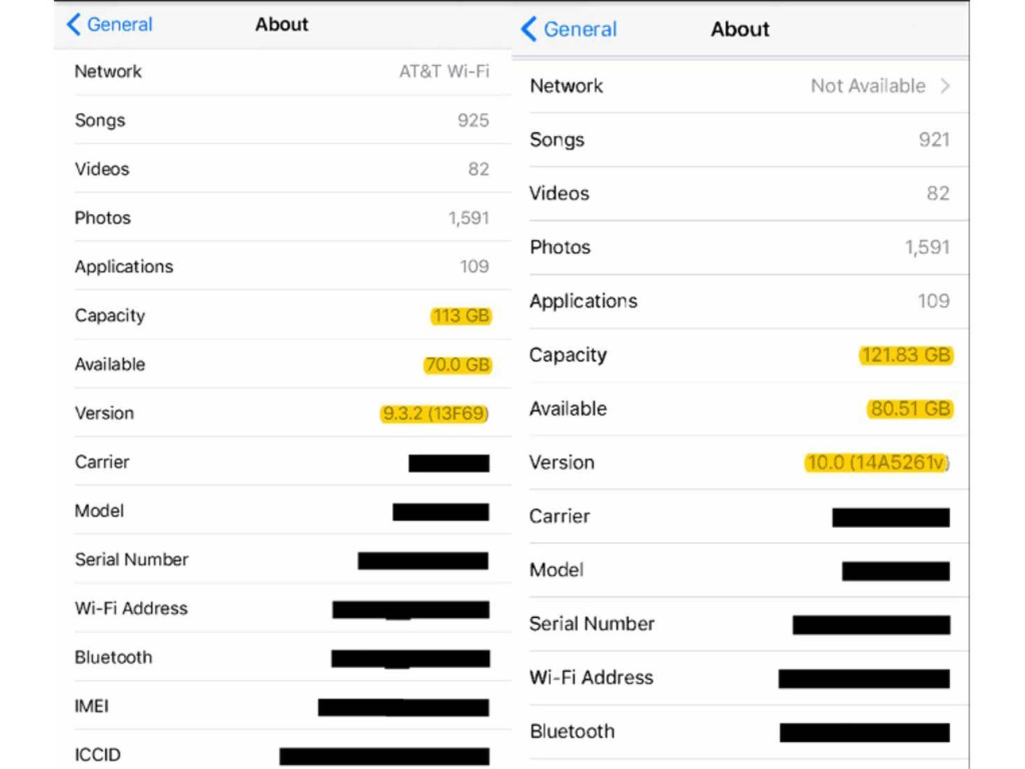 iOS 10 Speichervergleich