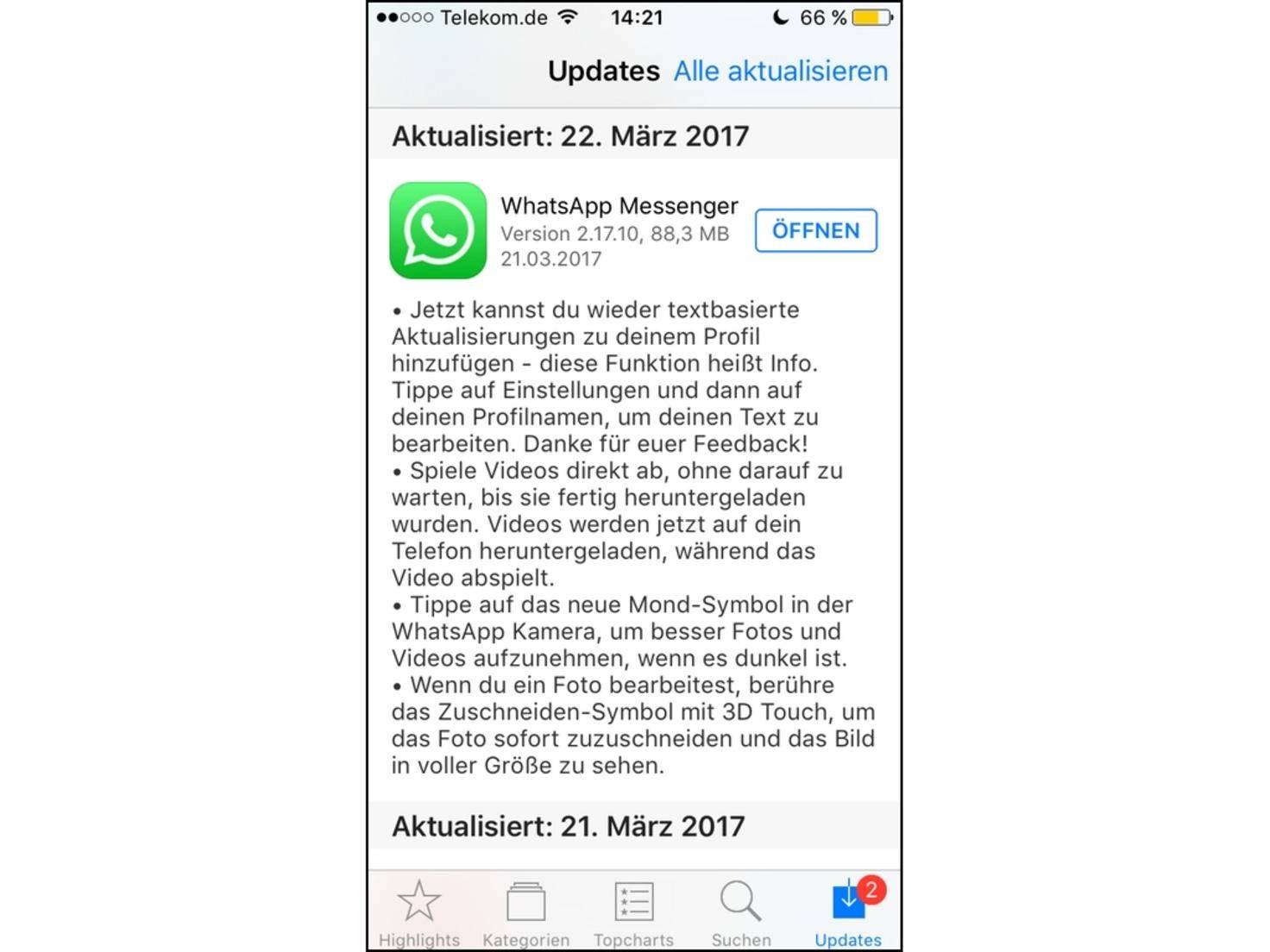 WhatsApp alter Status