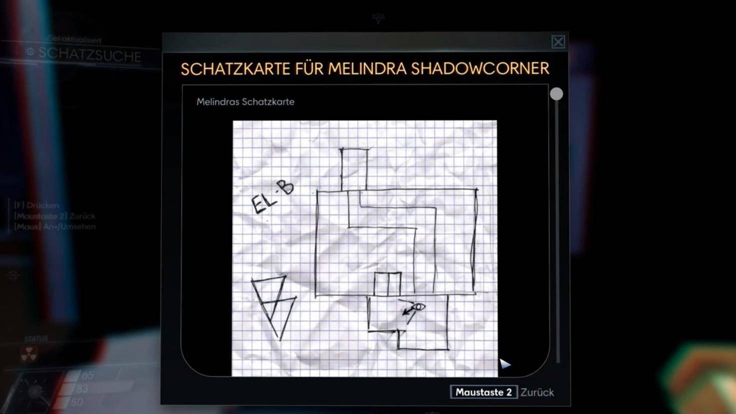 Die Schatzkarte von Danielle Sho zeigt die Tankanlage. Dort findest Du an der Wand die Ziffer 1.