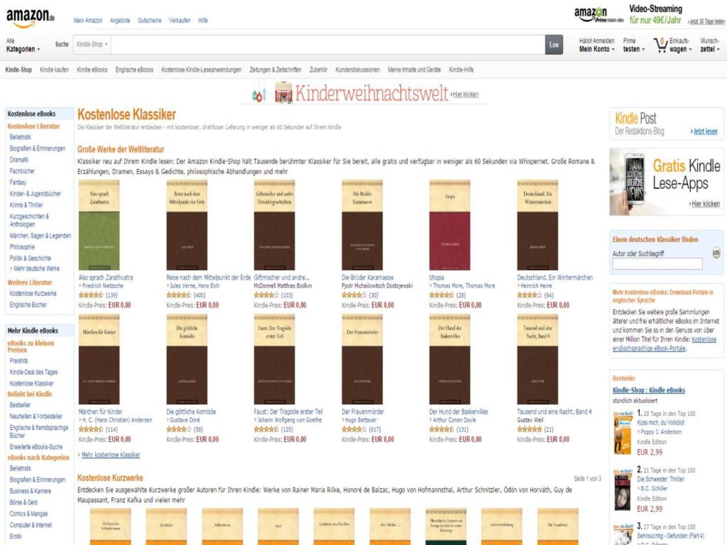 Amazon.de  Kostenlose Klassiker  gratis eBooks   Kindle eBooks