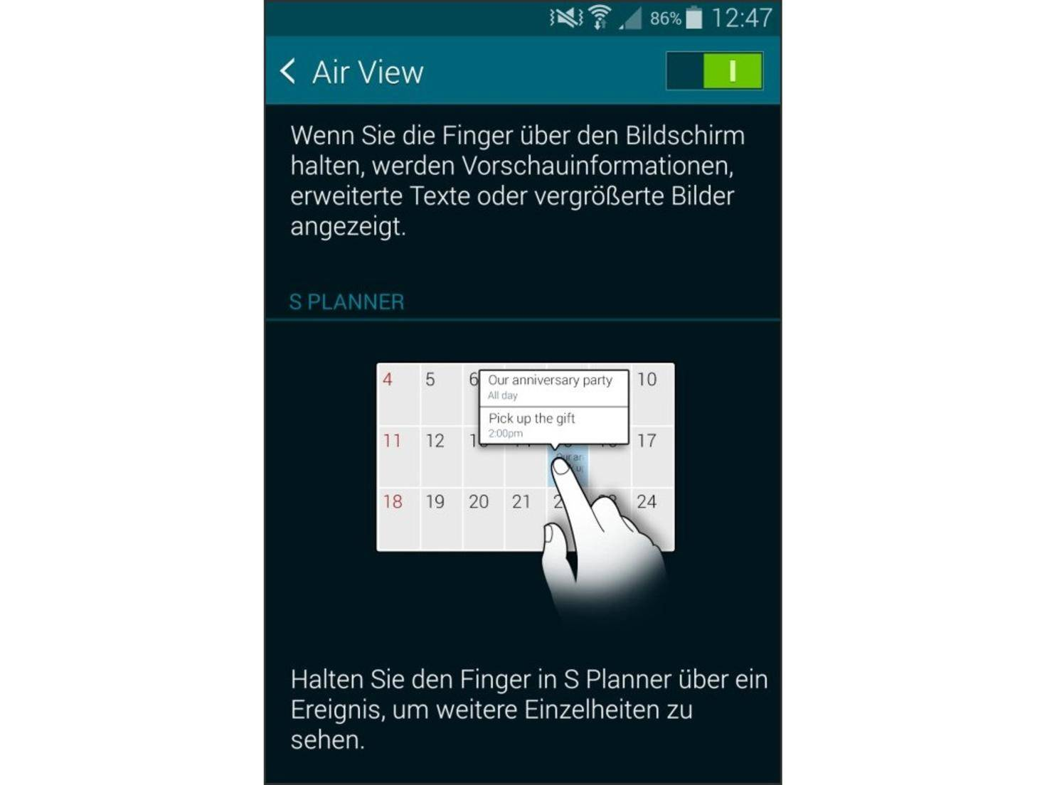 Wie von Zauberhand lässt Air View Vorschauinformationen erscheinen.