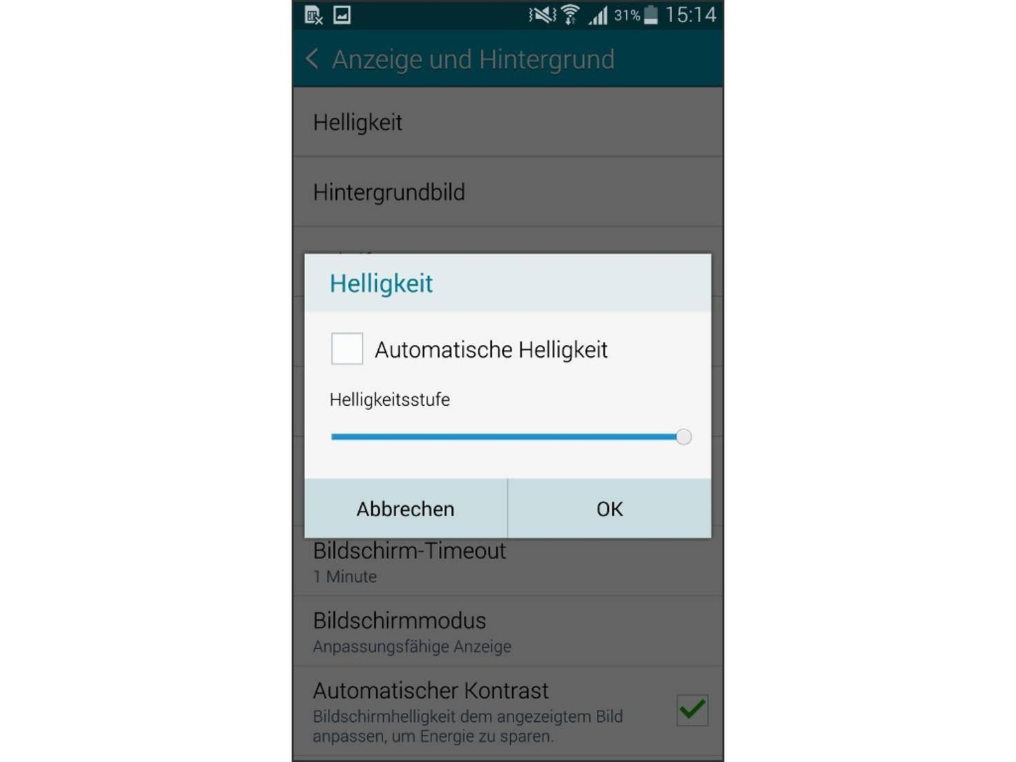 Das Samsung Galaxy Note 4 kann die Helligkeit auch automatisch regeln.