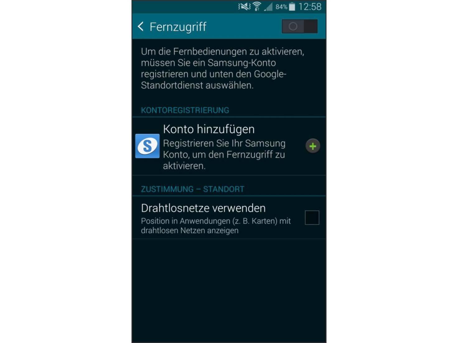 Ist die Funktion Fernzugriff aktiviert, kann das Galaxy S5 aus der Ferne gesperrt werden.