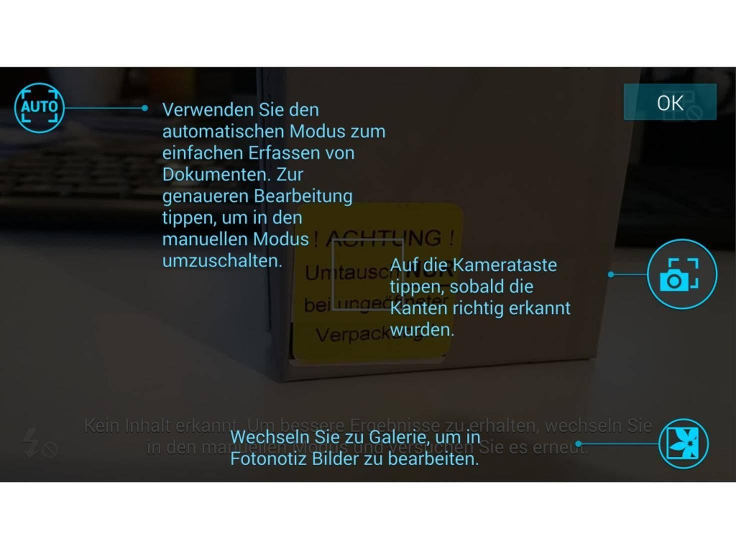 Das Galaxy Note 4 hilft beim Anfertigen der Fotonotiz.
