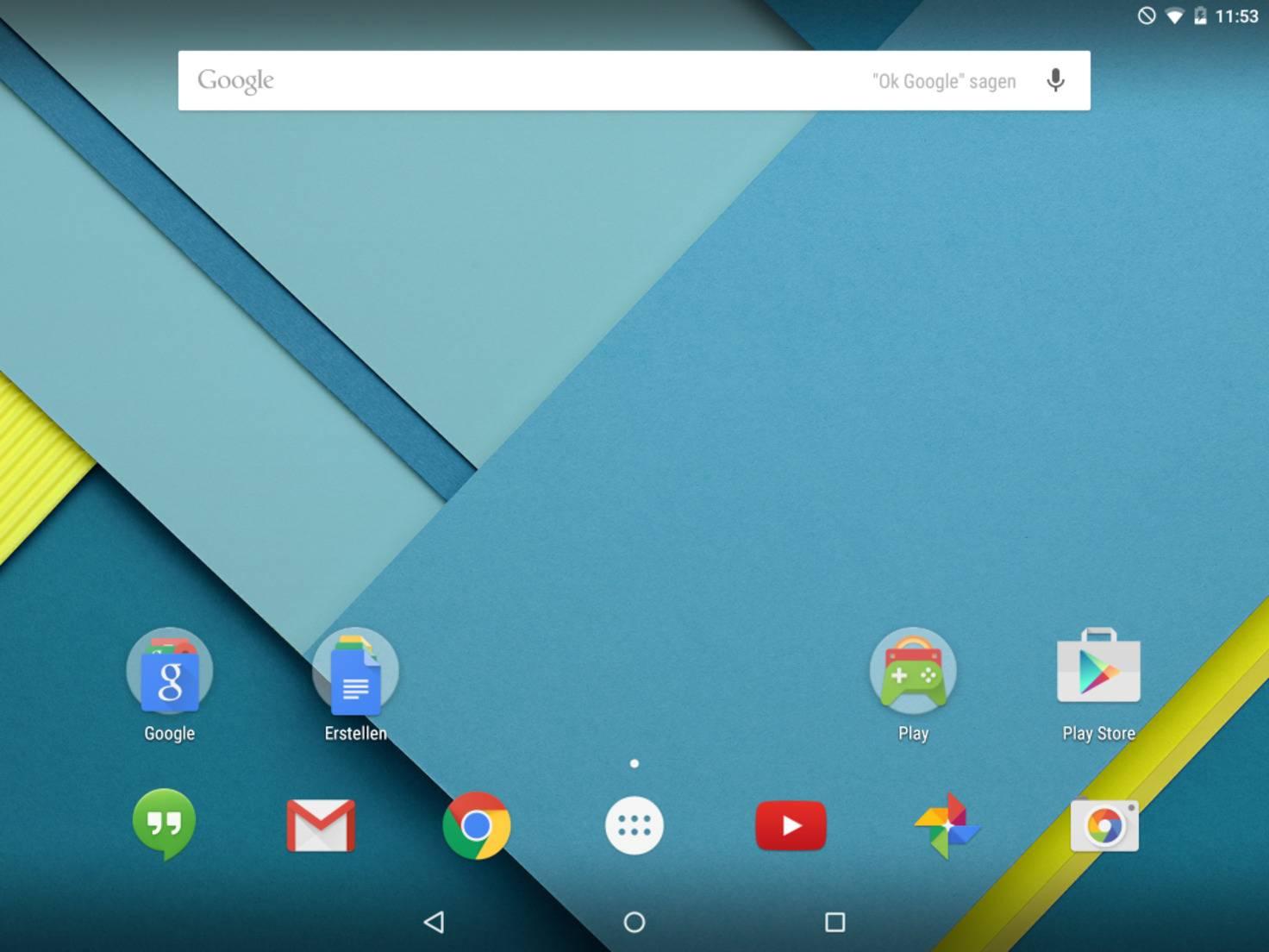Auf dem Google Nexus 9 ist Android 5.0 Lollipop vorinstalliert.