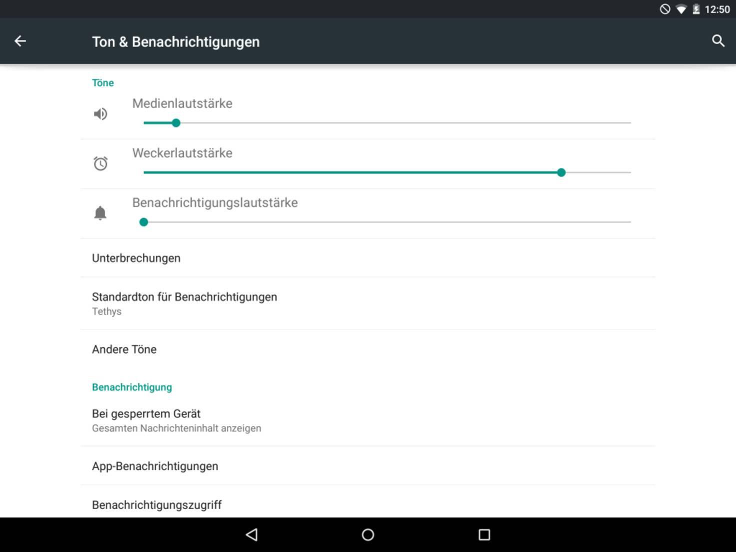 Nexus 9 Ton und Benachrichtungen