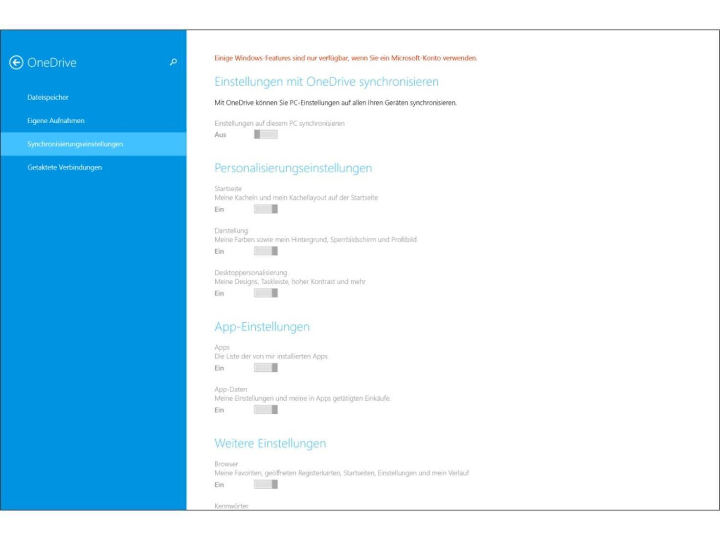 Der Cloud-Service OneDrive ist auf jedem Surface Pro 3 vorinstalliert.