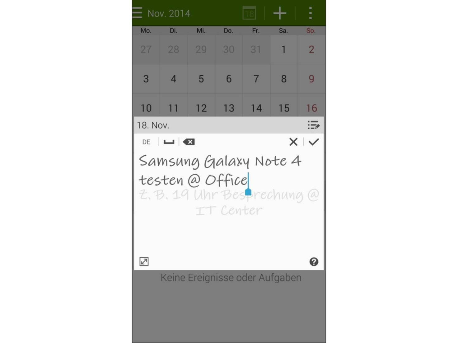 Das Galaxy Note 4 erkennt die Handschrift des Nutzers.