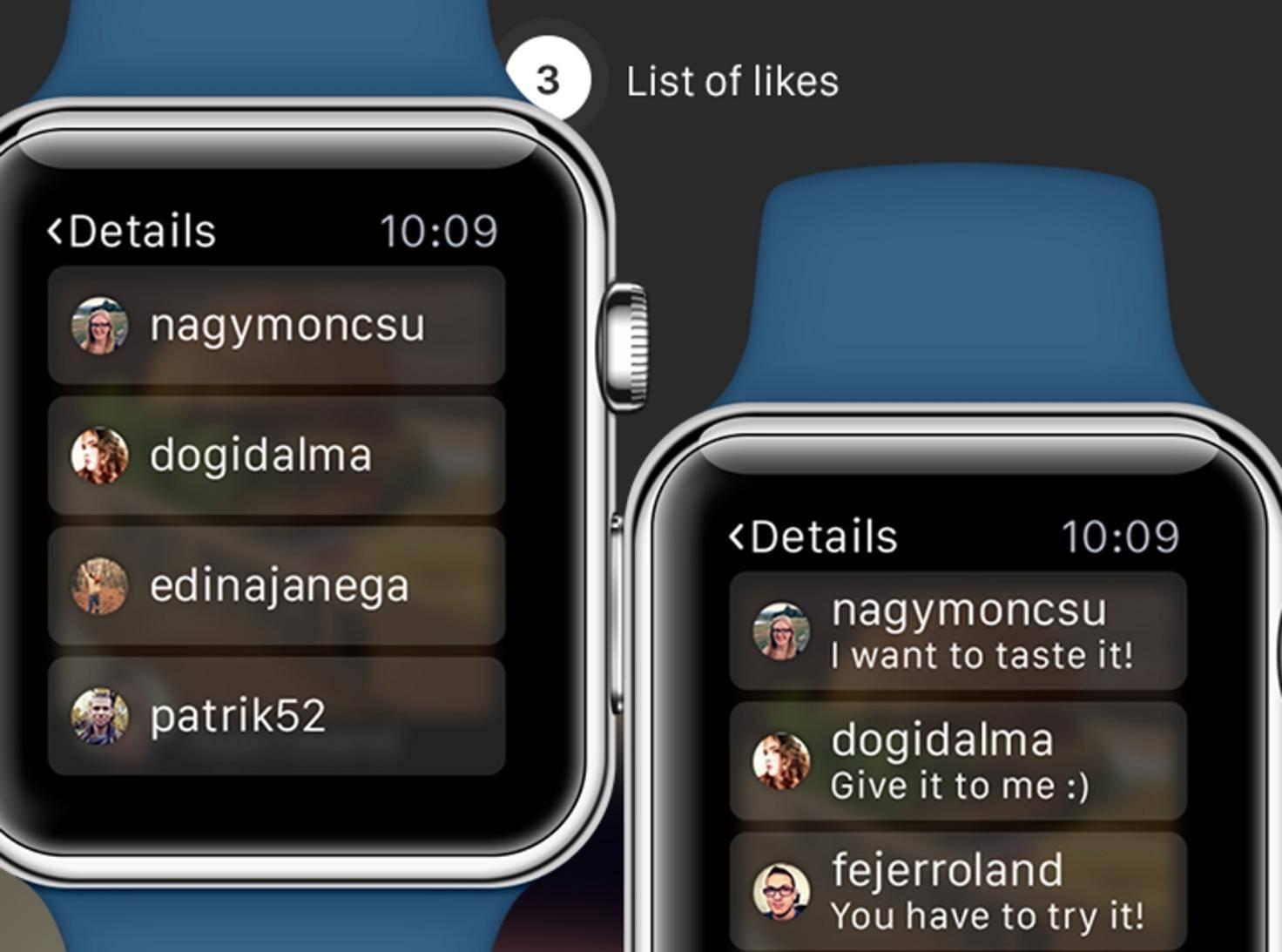 So stellen sich die Designer von JBS Labs Instagram auf der Apple Watch vor.
