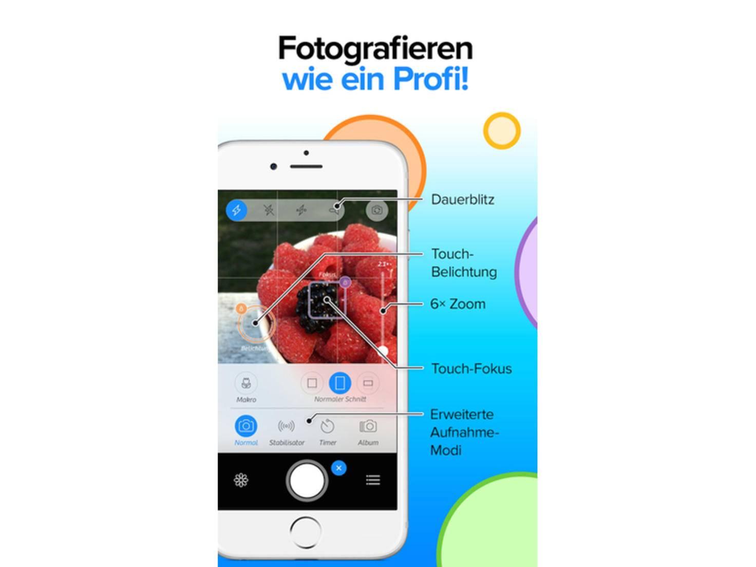 Die App Camera+ bietet deutlich mehr Features als die normale iOS-Kamera.
