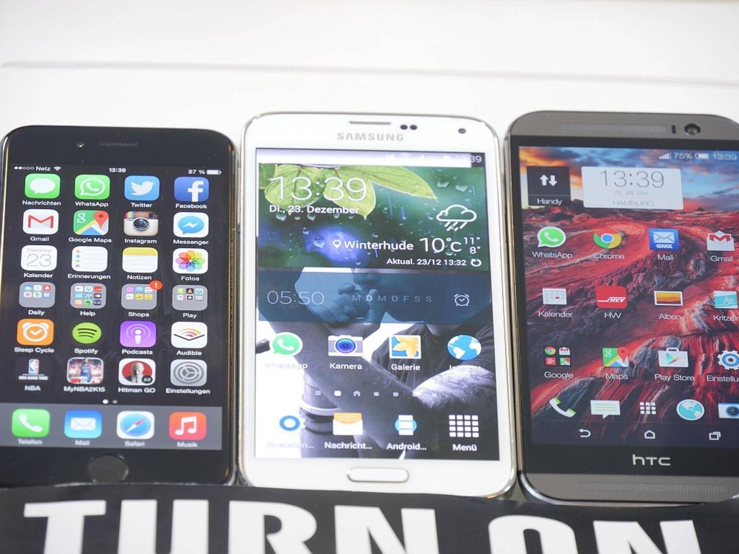 iPhone 6, Samsung Galaxy S5, HTC One M8