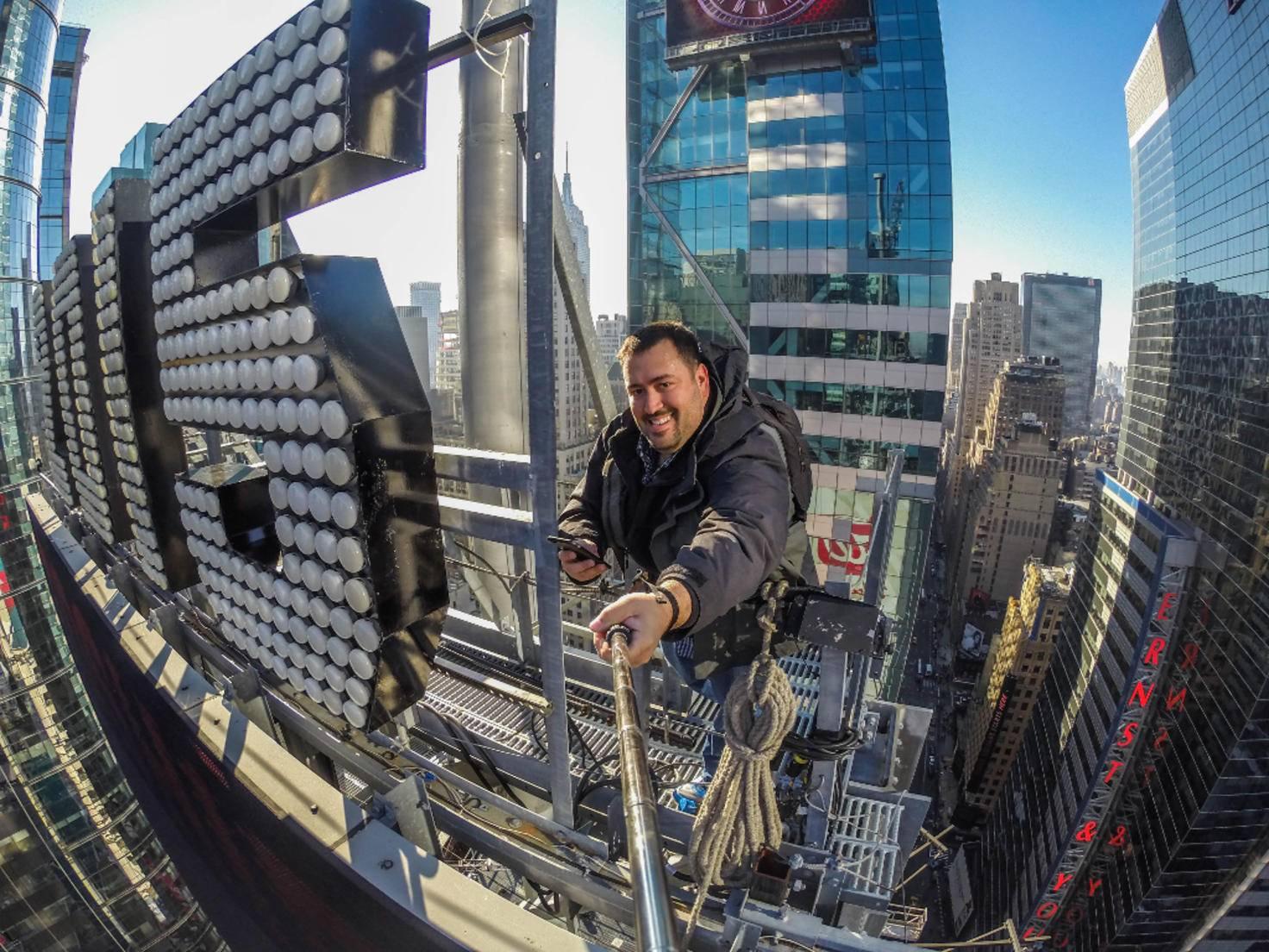 Quintano fand am Times Square auch noch Zeit für ein GoPro-Selfie.