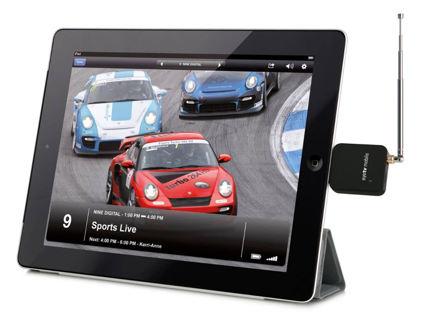 Der mobile TV-Tuner Elgato EyeTV verwandelt iPad und iPhone in einen portablen Fernseher.