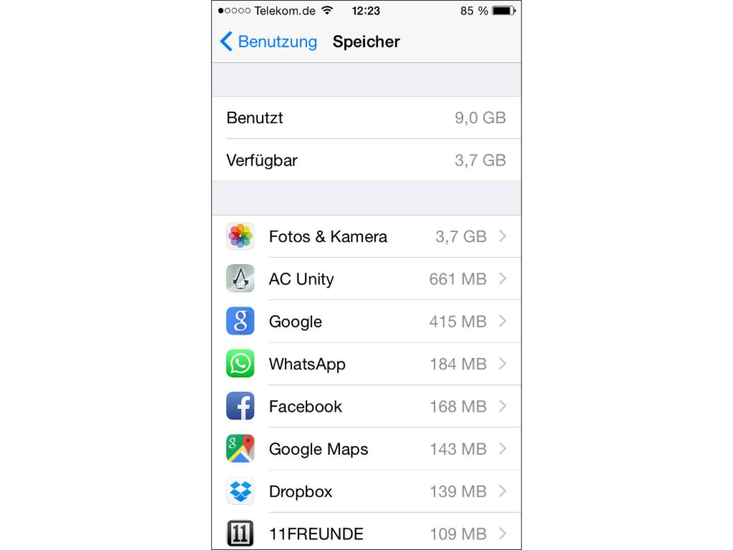 Eine Übersicht über alle Apps findet sich in den Speicher-Einstellungen von iOS 8.