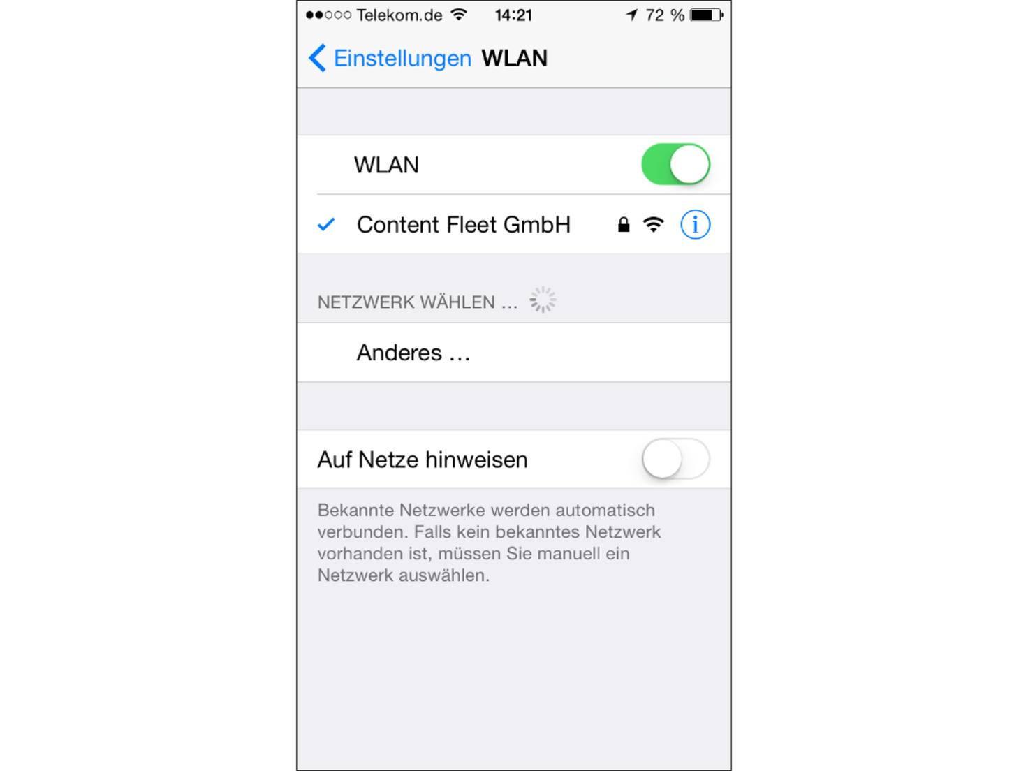 Die automatische Suche nach WLAN-Verbindungen sollte deaktiviert werden.