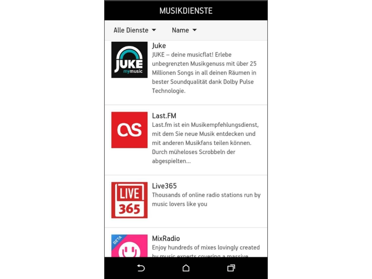 Via App lassen sich Playlists über 32 Streaming-Dienste erstellen.
