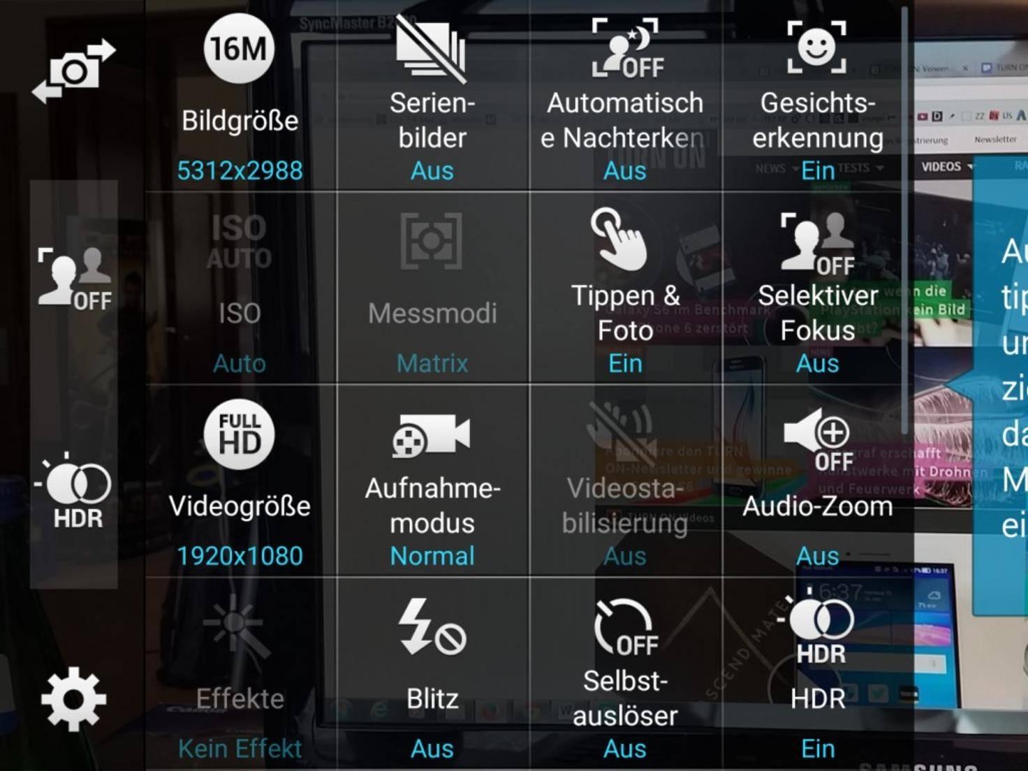 """Der Zeitraffer-Modus beim Galaxy S6 ist unter """"Aufnahmemodus"""" zu finden."""
