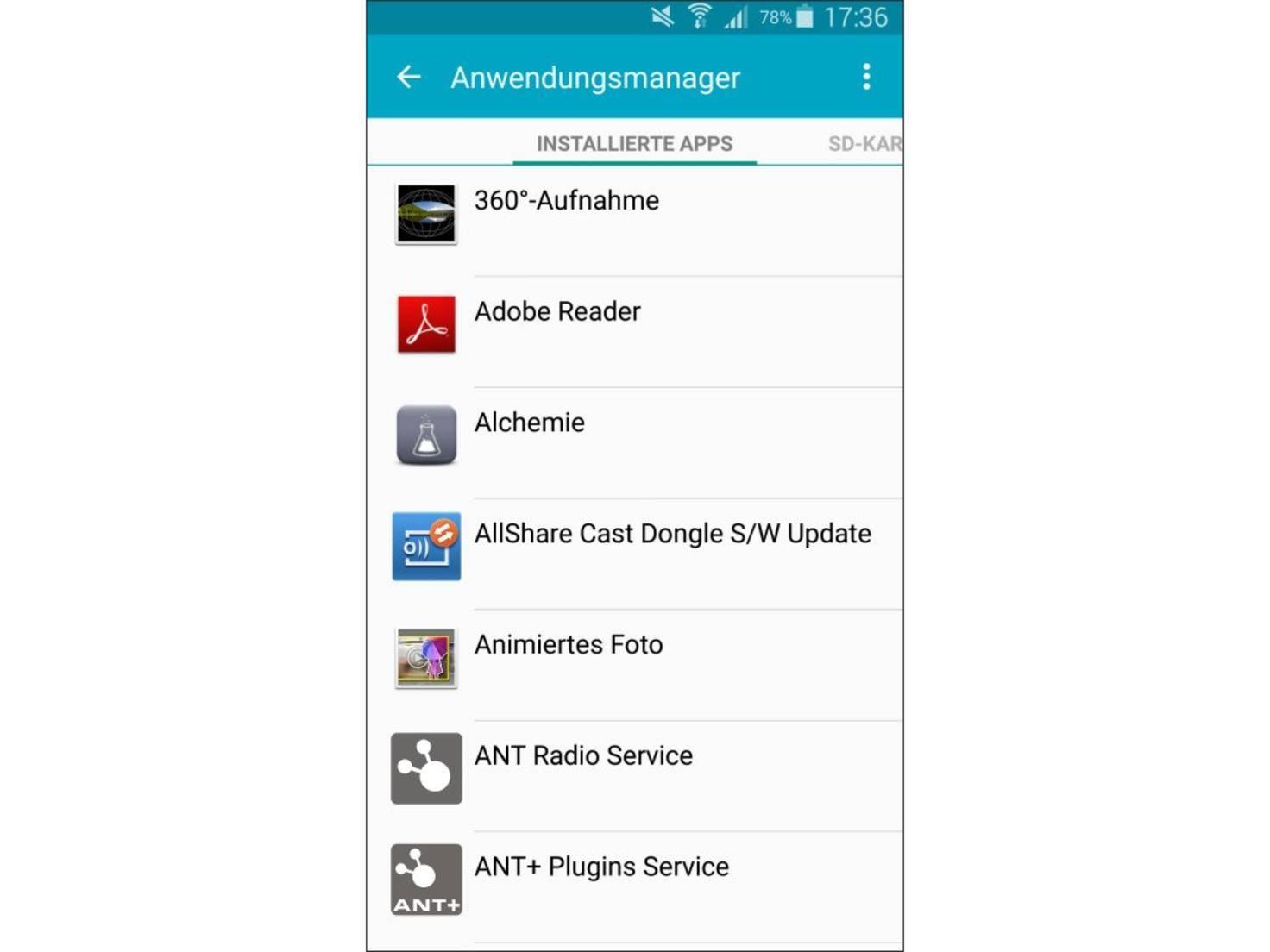 Im Anwendungsmanager findest Du alle installierten Apps.
