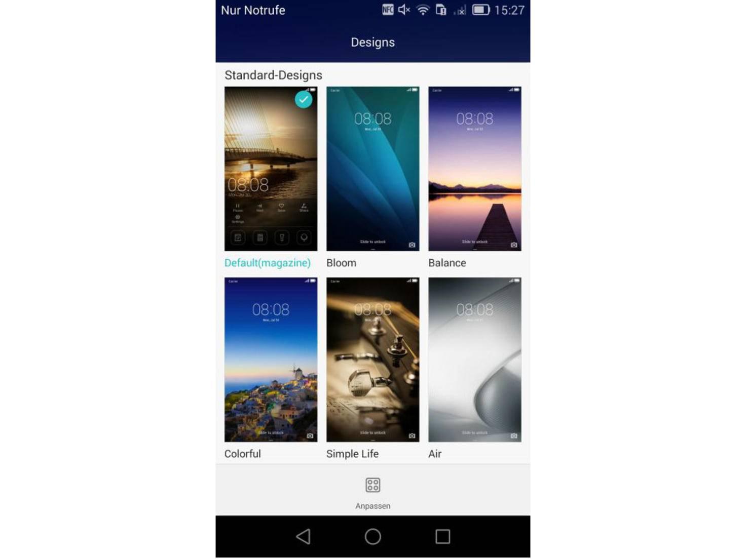 Das Emotion-UI bietet verschiedene Designs.
