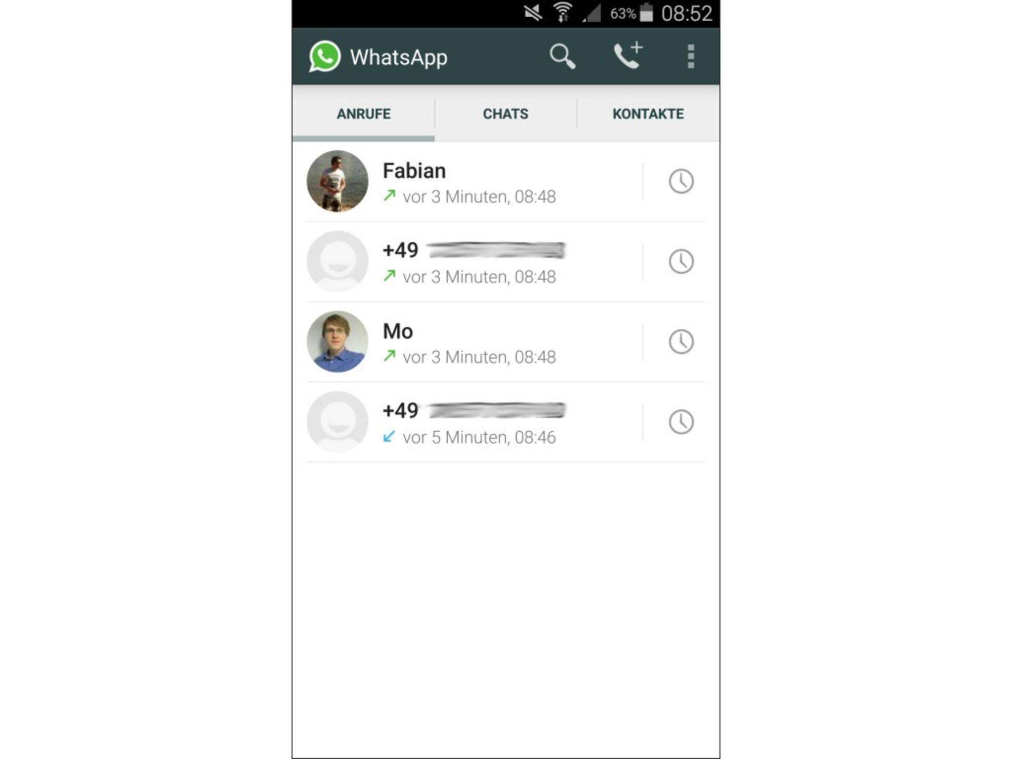 WhatsApp Telefonfunktion
