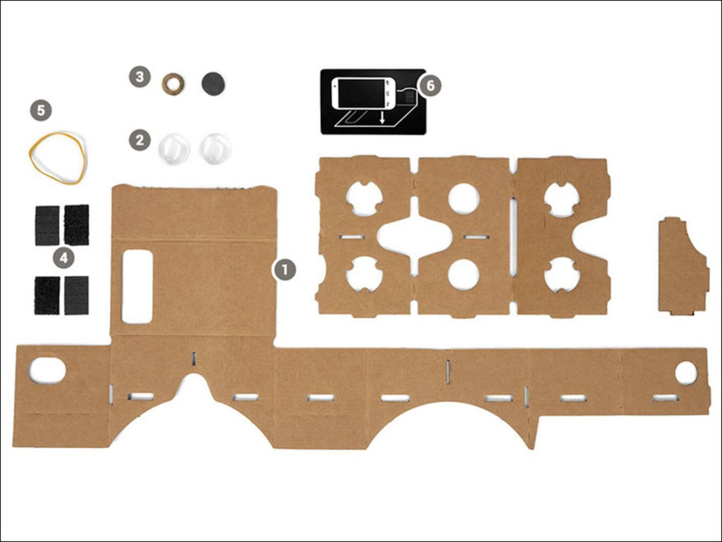 So sieht der Bausatz der VRoggles-Brille aus. Alle Teile sind enthalten - nur das Smartphone muss man selber haben.
