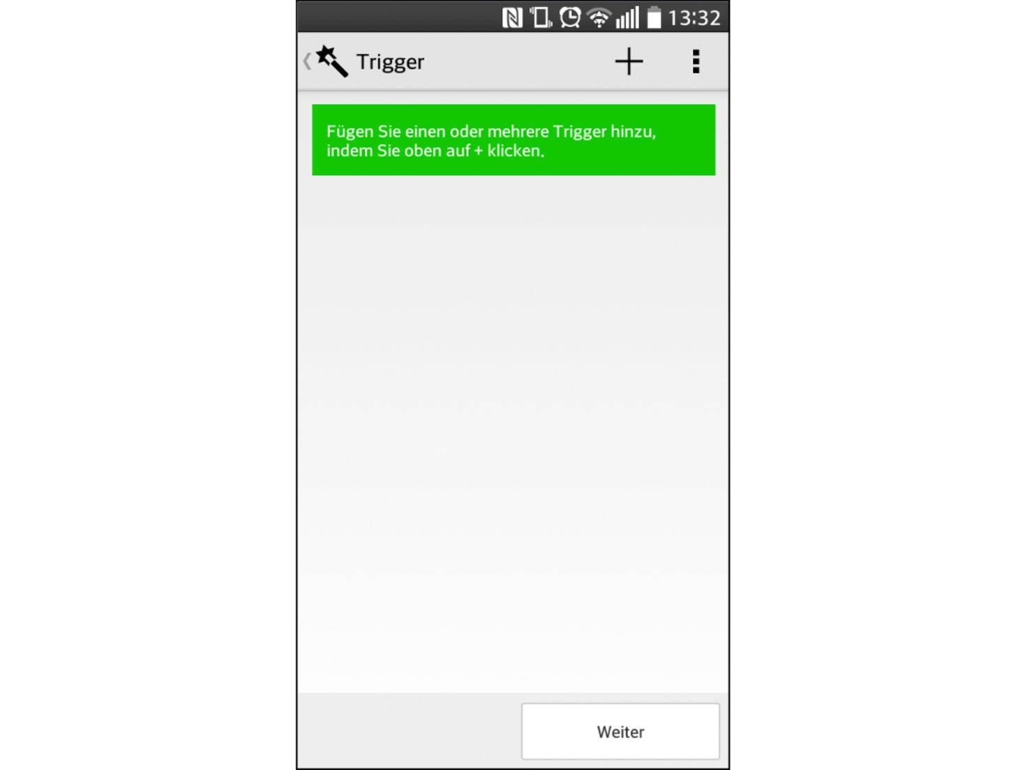 In diesem Bildschrim beginnt die Erstellung des NFC-Tags.