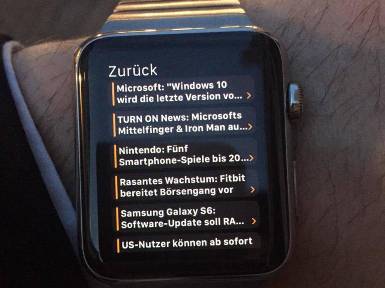 Auch mit der Apple Watch kannst Du die News von TURN ON bequem lesen.