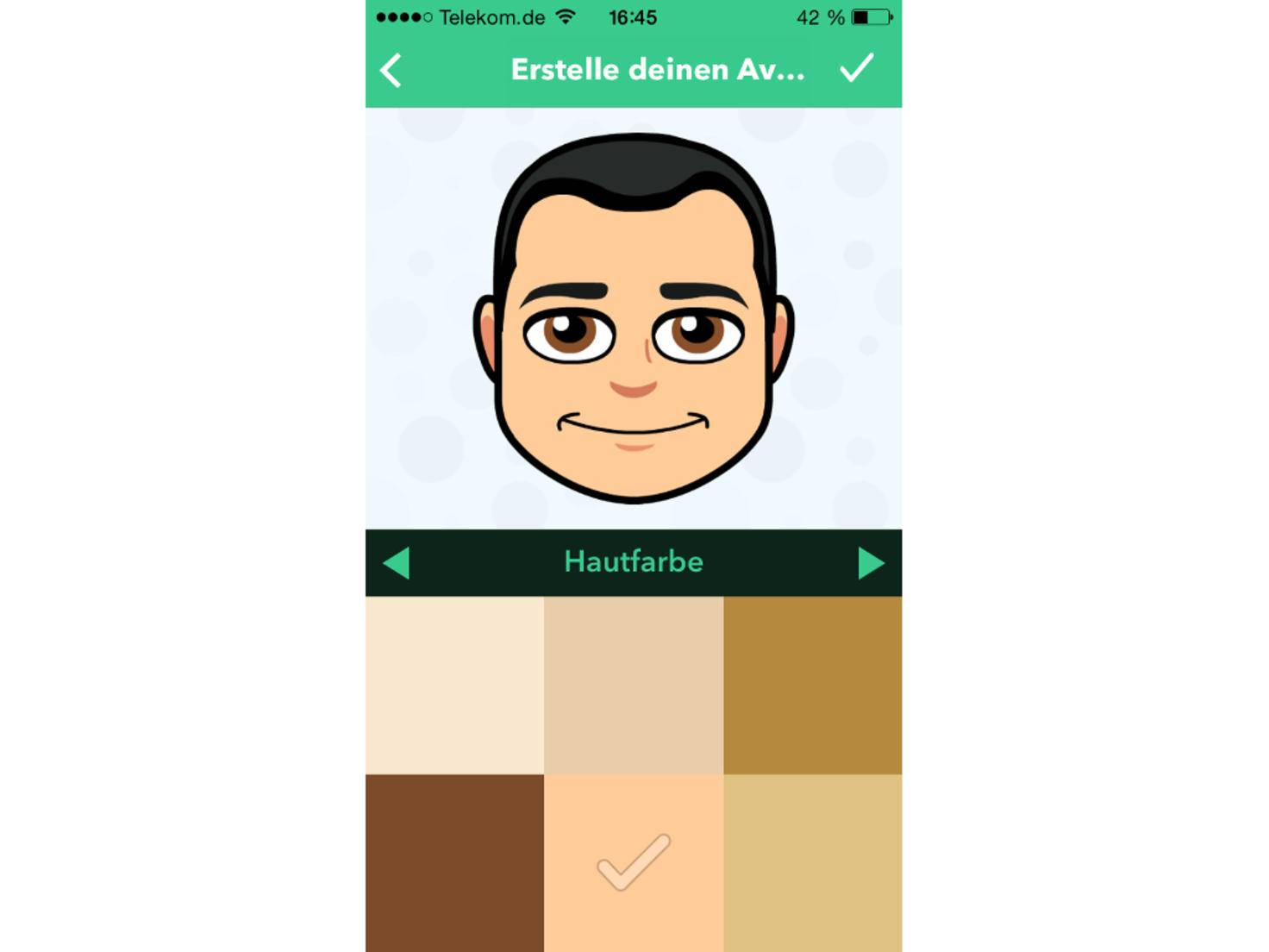 Auch die Hautfarbe kann festgelegt werden.