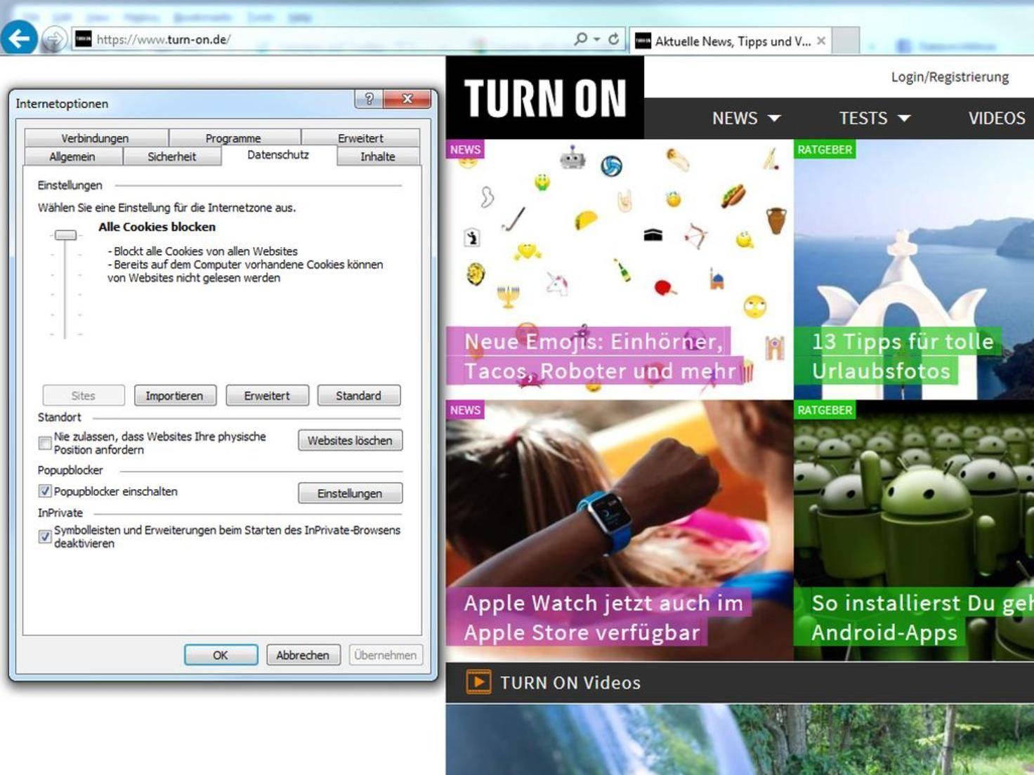 Cookies im Internet Explorer blockieren