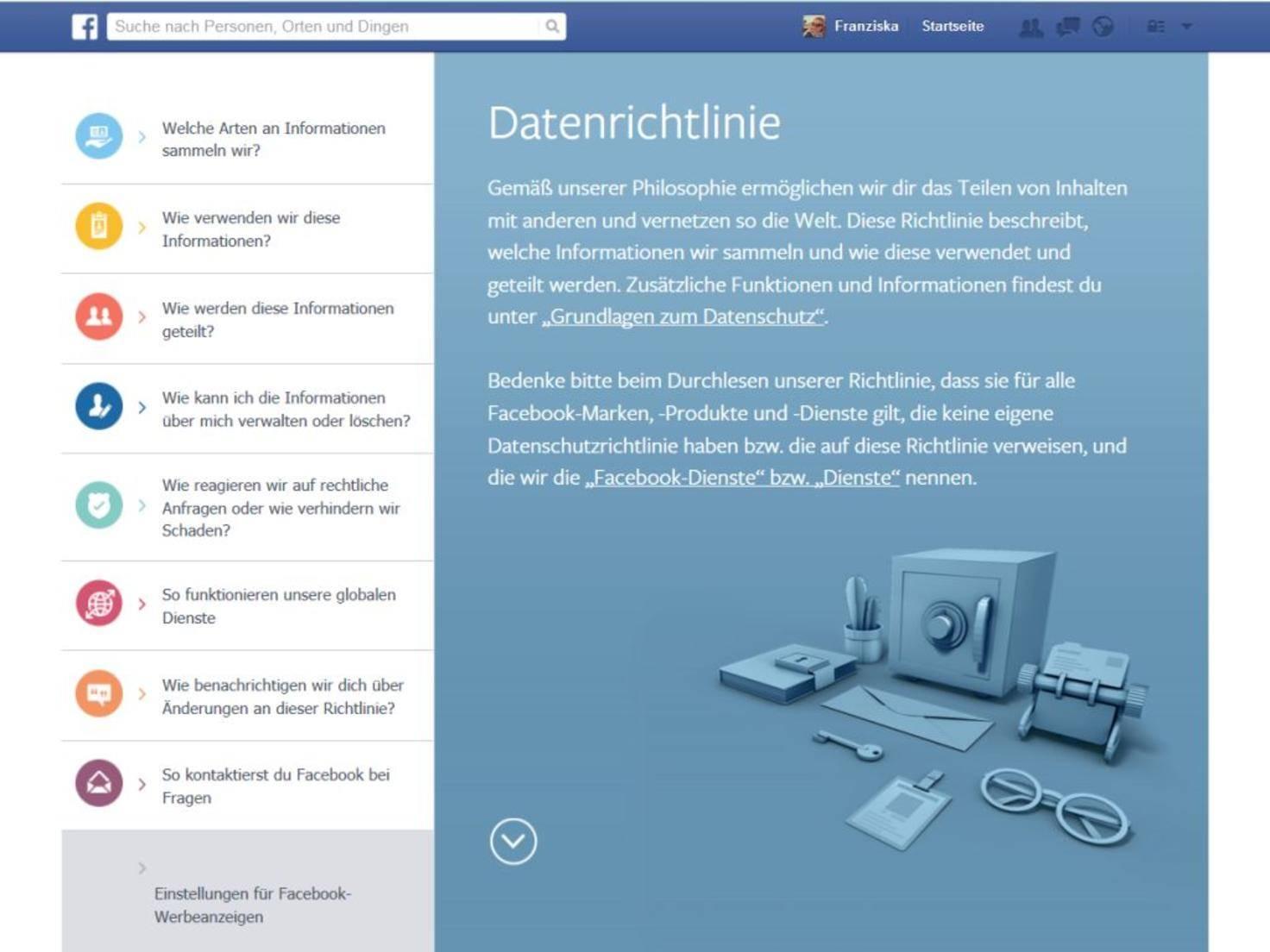 """Rufe """"Einstellungen für Facebook-Werbeanzeigen"""" auf..."""