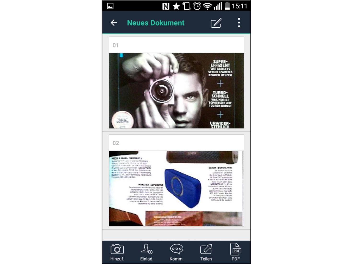 Die Voransicht zeigt die einzelnen Seiten des PDF.
