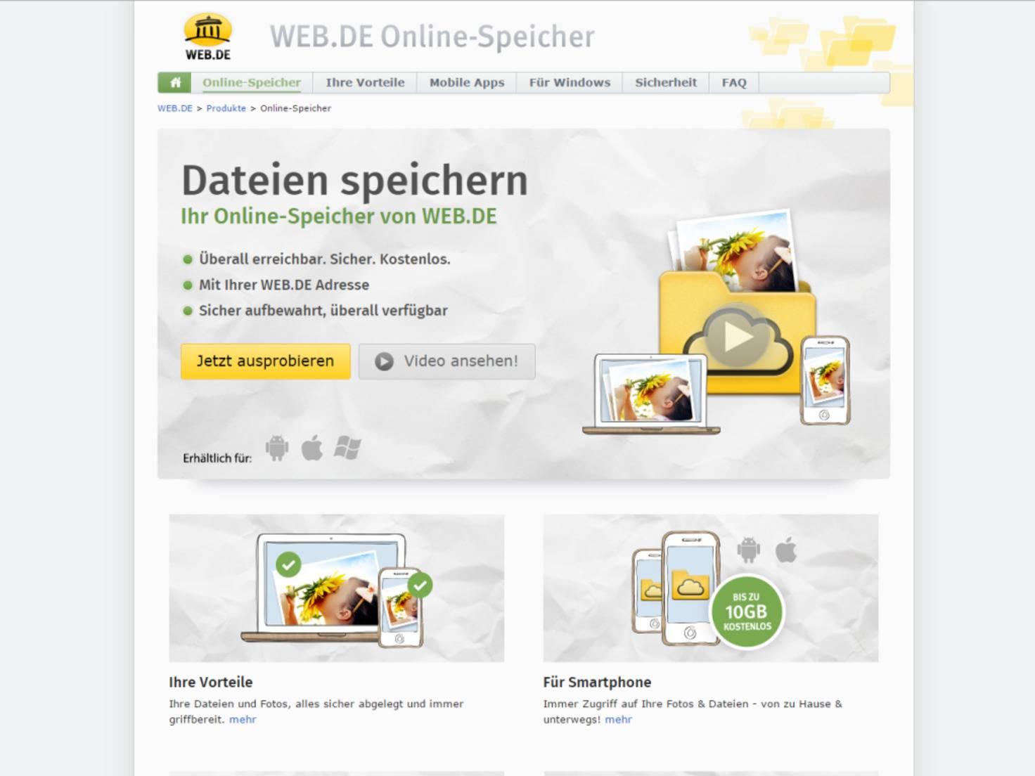 ...und dem web.de Online-Speicher ähneln sich.