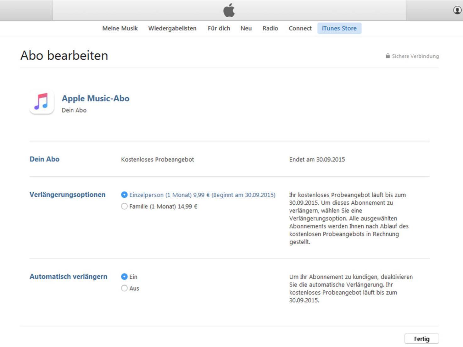Apple Music Kuendigung iTunes