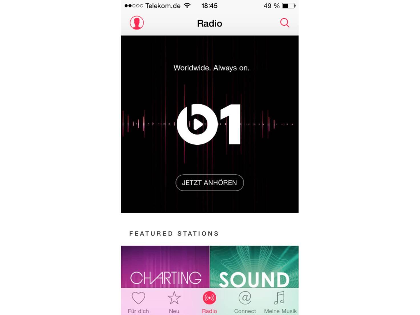 """Unter """"Radio"""" findet sich unter anderem Beats 1."""