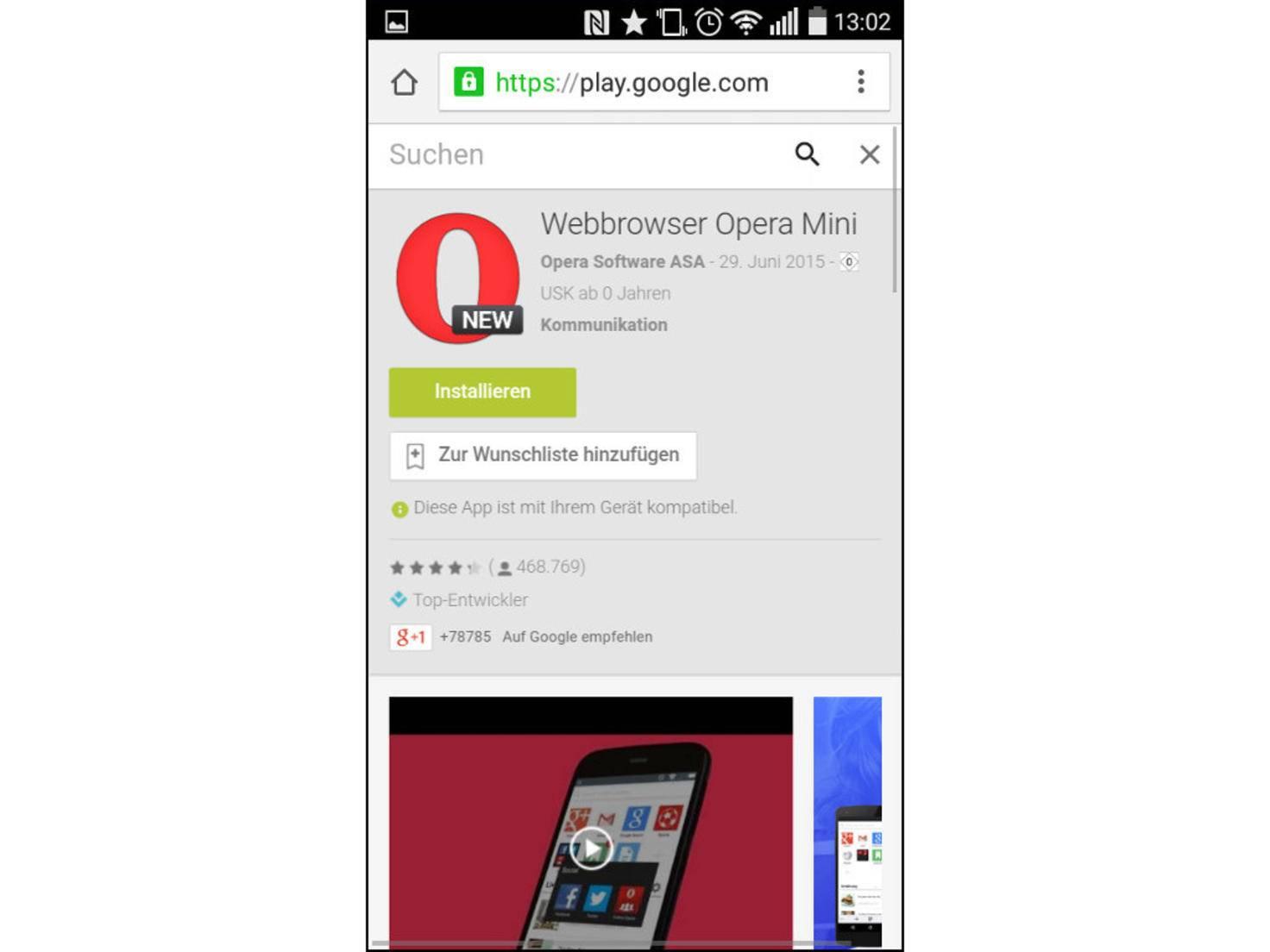 Apps lassen sich auch aus dem Browser installieren.