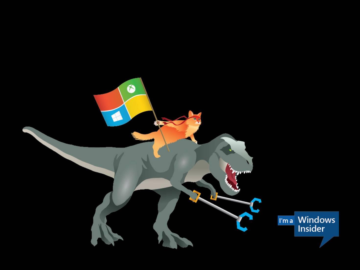 Die Ninjacat reitet auf einem T-Rex und ...