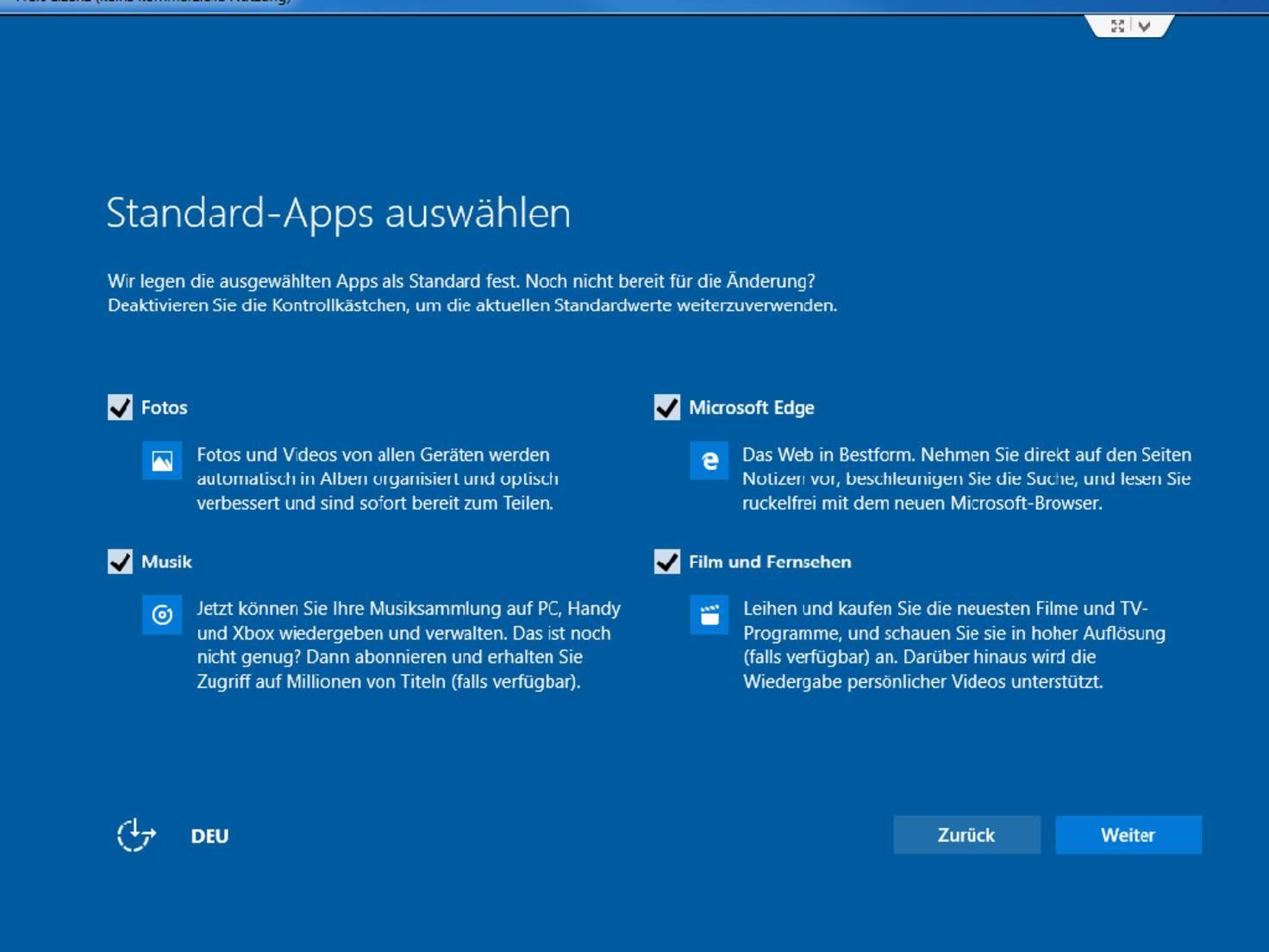 Auch einige Standard-Apps lassen sich festlegen.