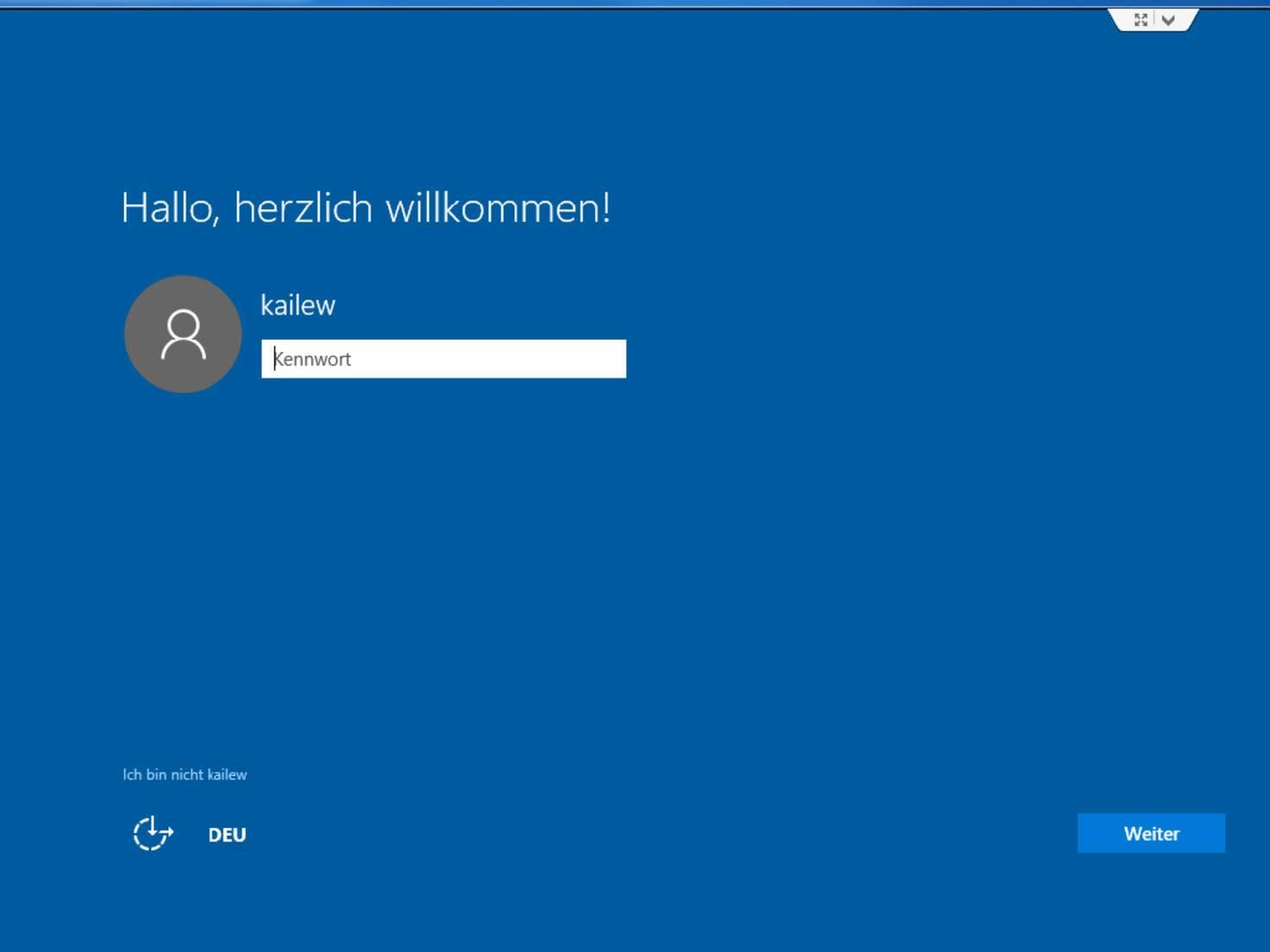 Nach der Installation von Windows 10 wird dieses Fenster angezeigt.