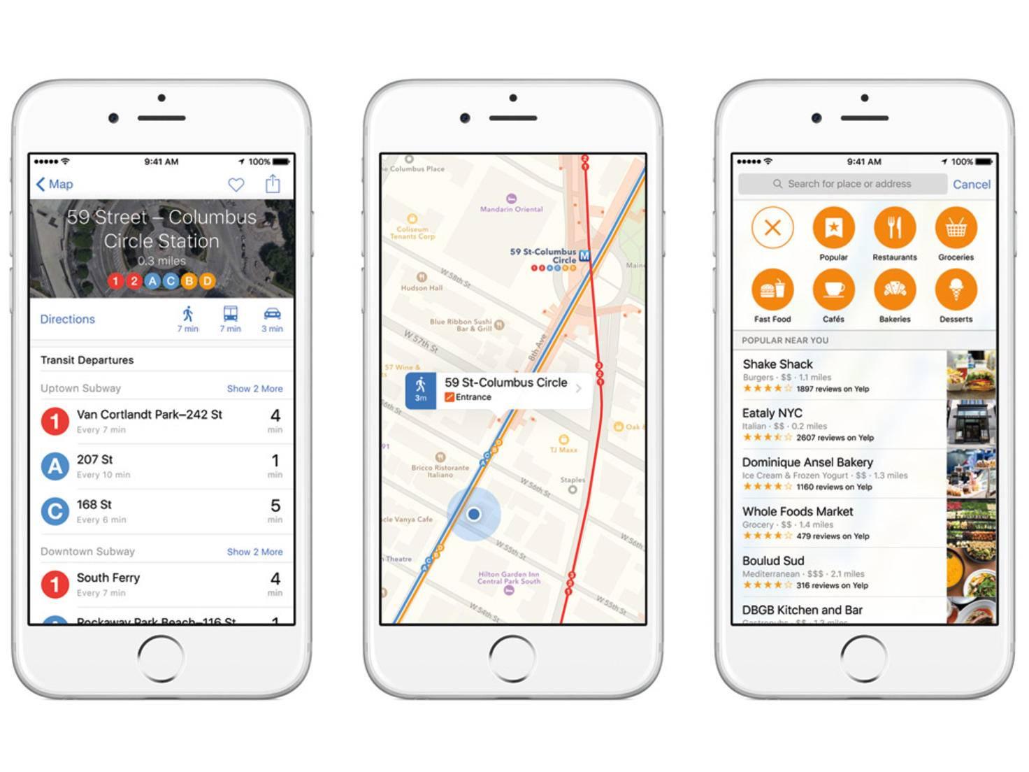 Die Karten App hat jetzt einen ÖPNV-Modus und präsentiert verschiedene Aktivitäten.