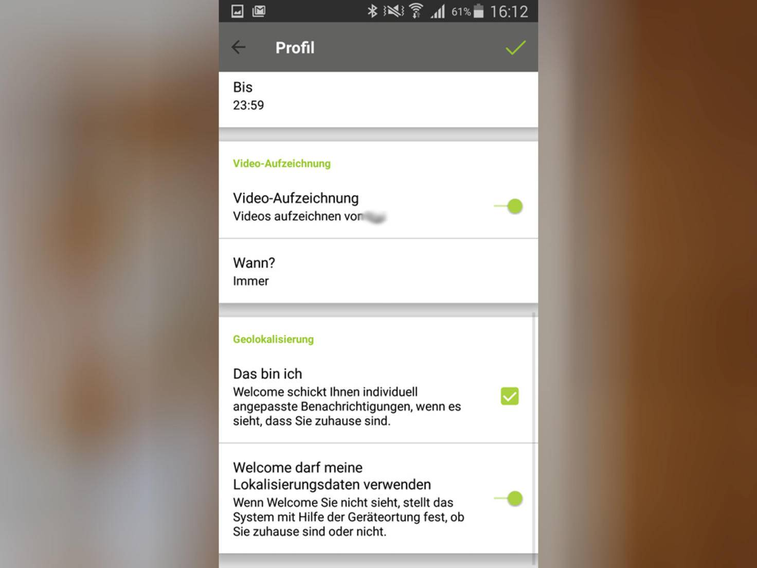 Ob das Gerät für ein Profil Videos aufzeichnet, lässt sich festlegen.