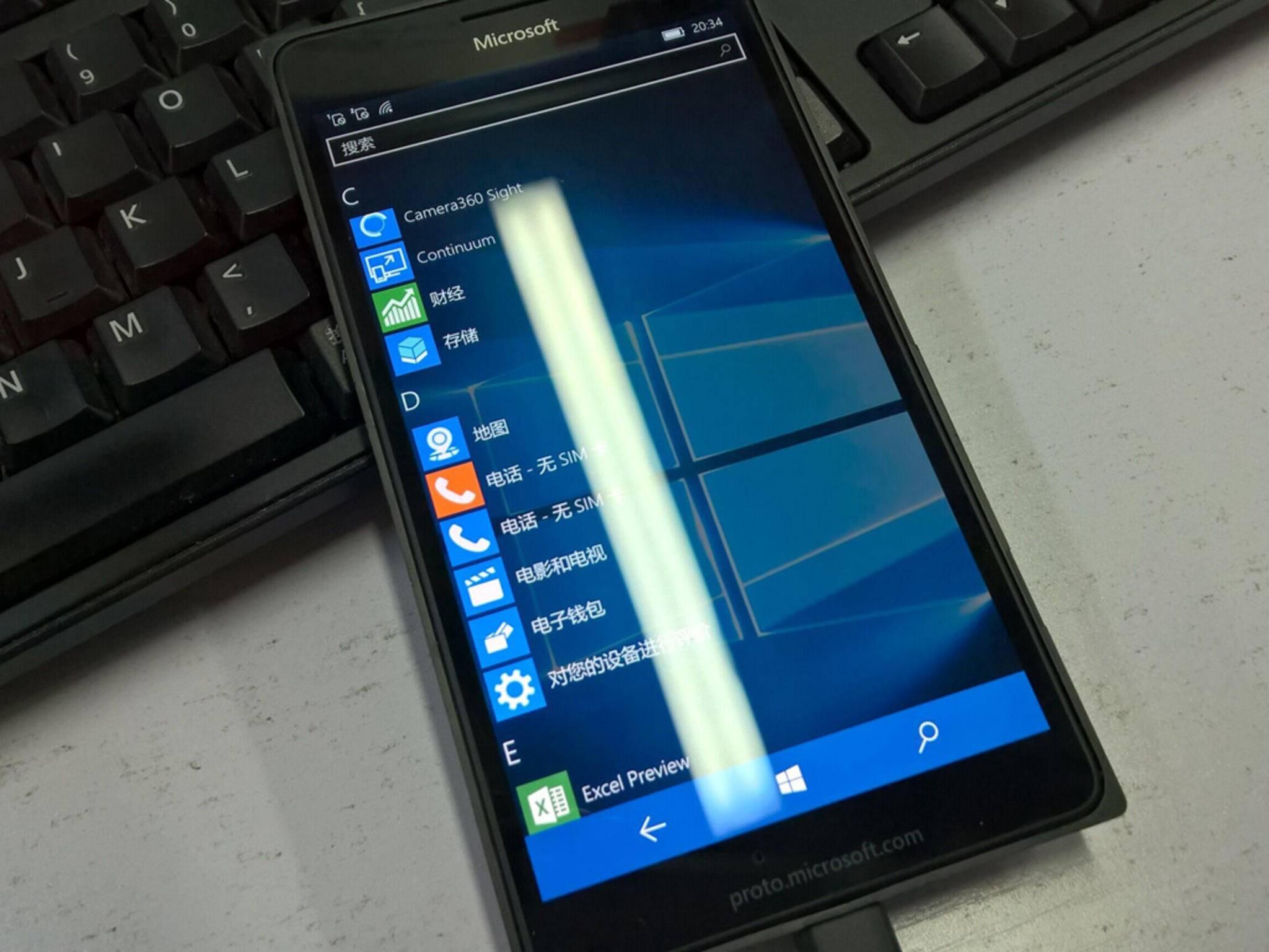 Das Lumia 940 mit dem erst kürzlich veröffentlichten Betriebssystem Windows 10.