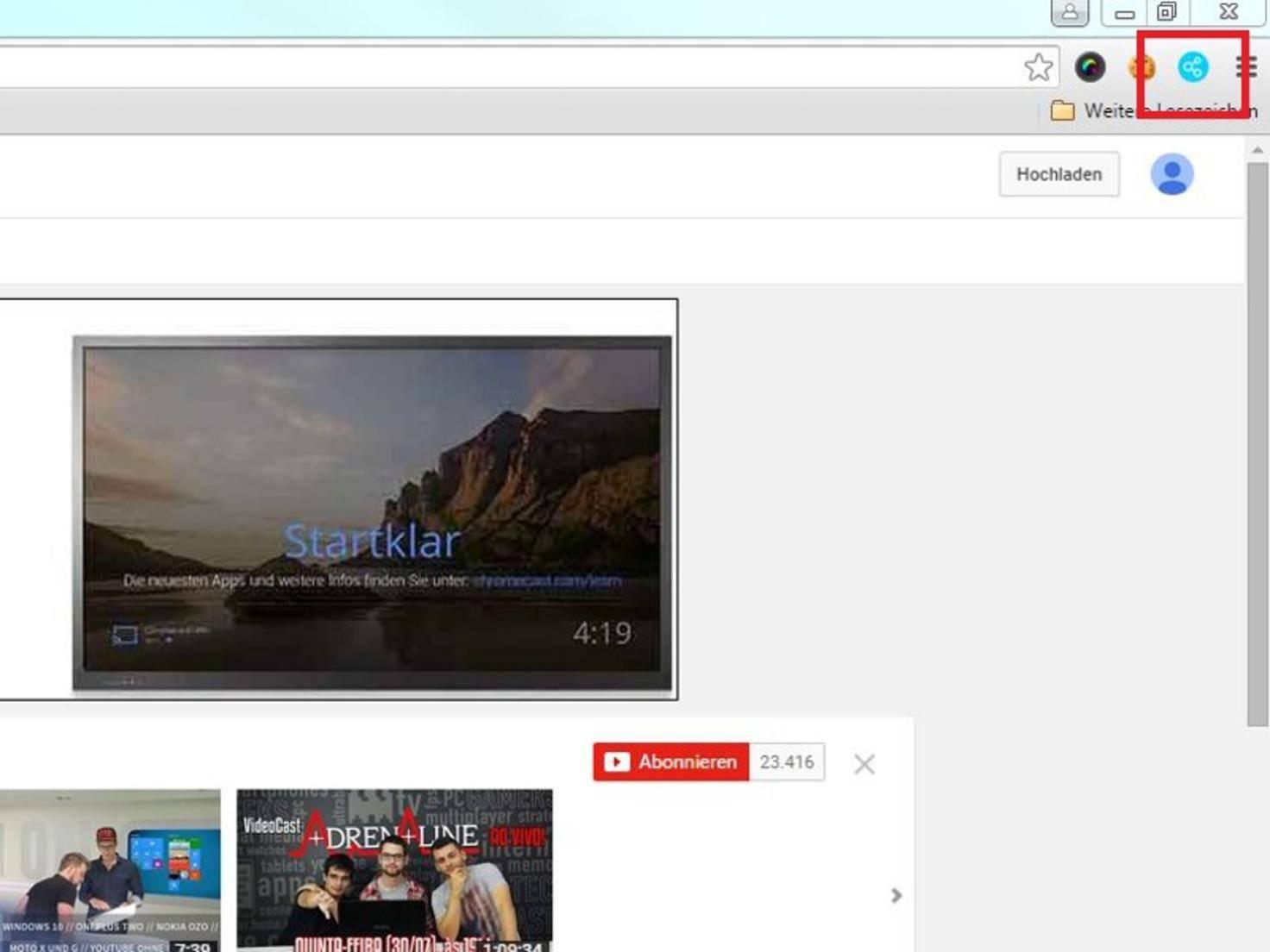 Anschließend markiert ein Symbol im Browserfenster das aktive Plugin.