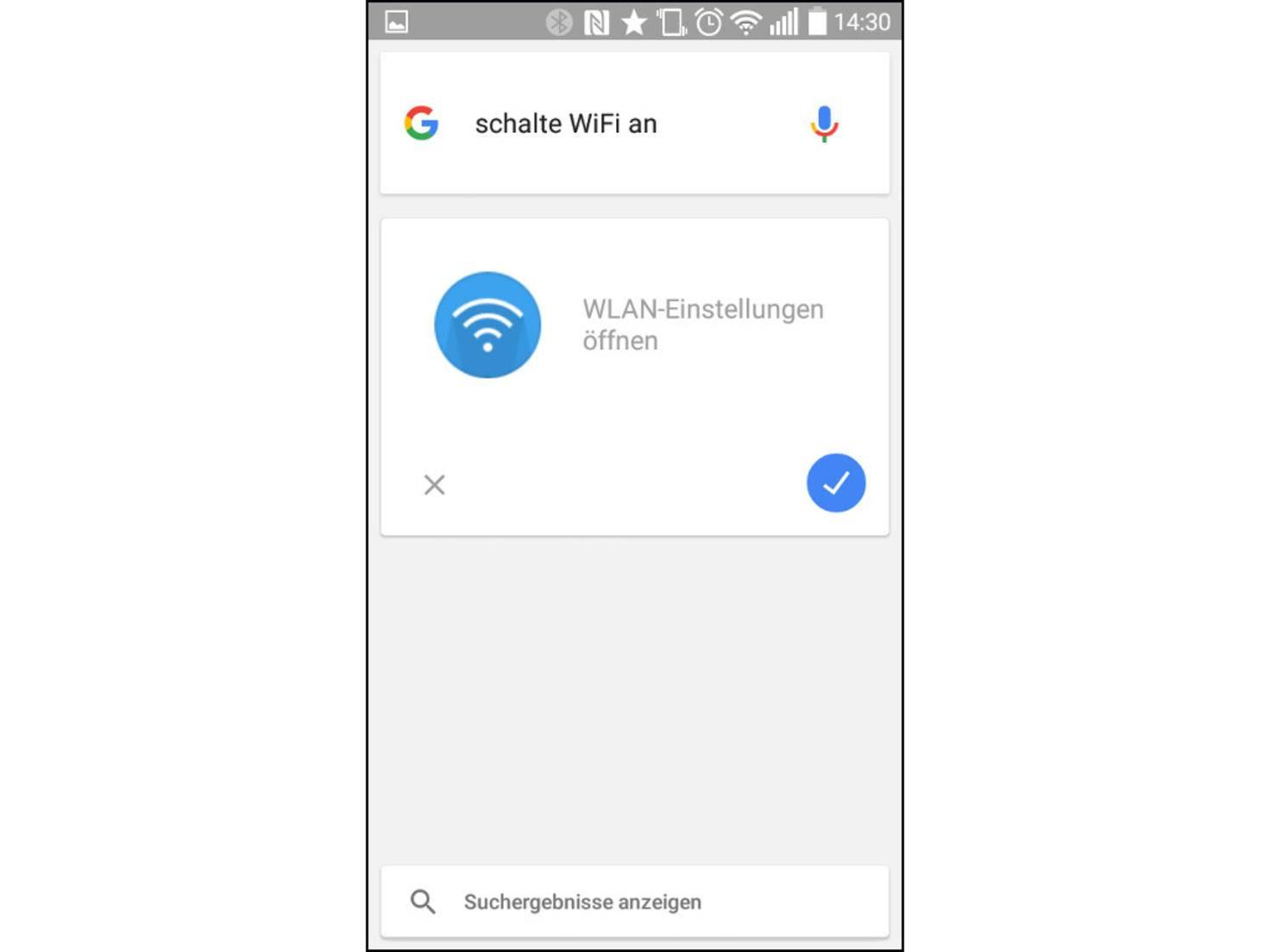 Die WiFi-Einstellungen lassen sich per Sprachbefehl öffnen.