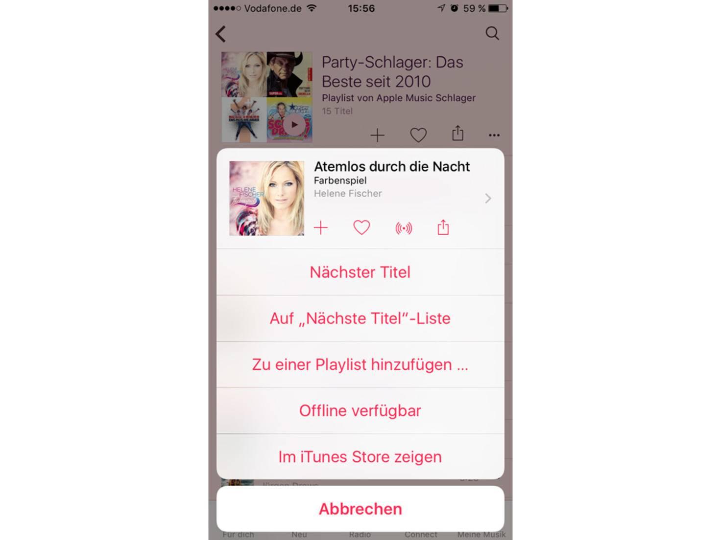 """""""Offline verfügbar"""" speichert die Musik auf dem iPhone."""