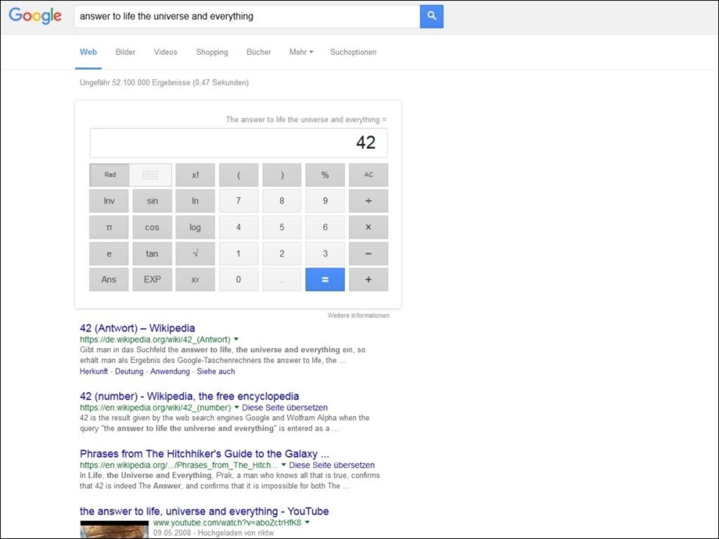 """Google hat ausgerechnet: Die Antwort auf die Frage nach dem Leben ist """"42""""."""