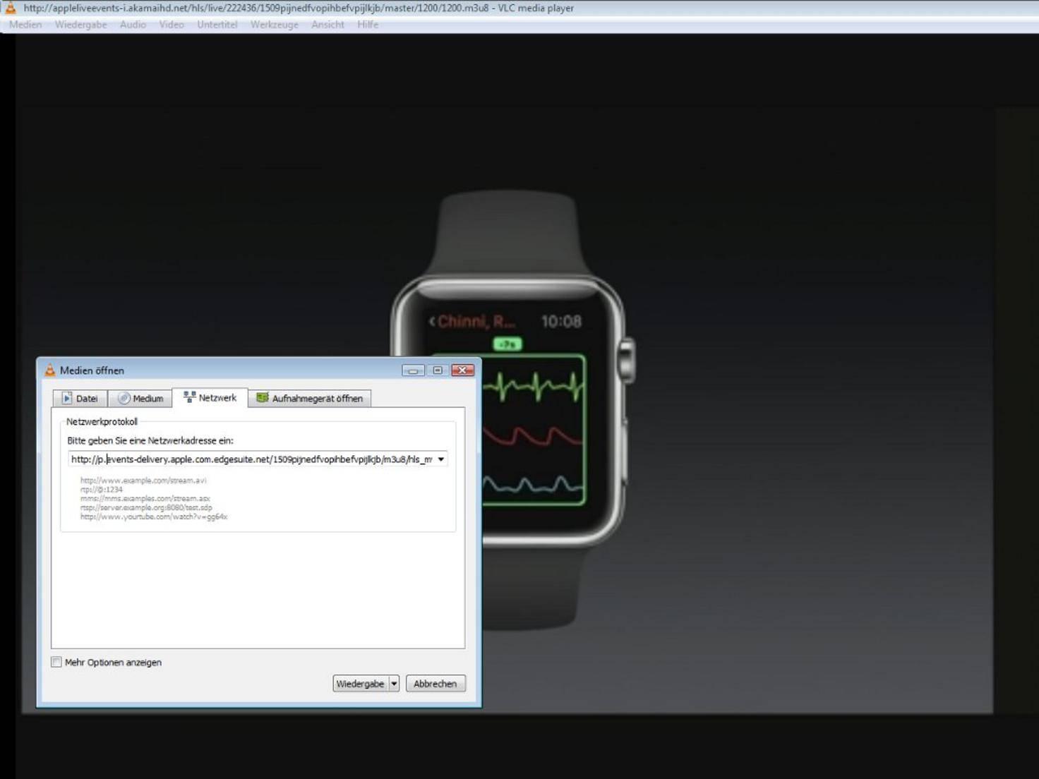 Live-Stream der Apple Keynote via VLC-Player